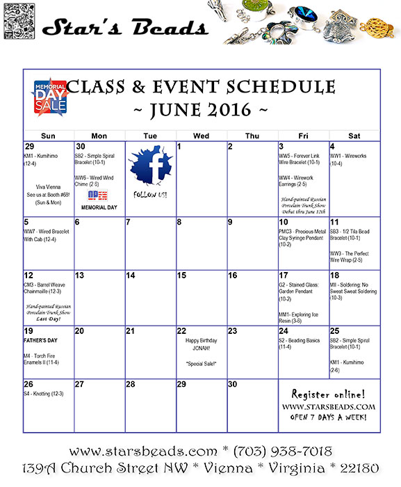 Classes at Star's Beads June 2016.