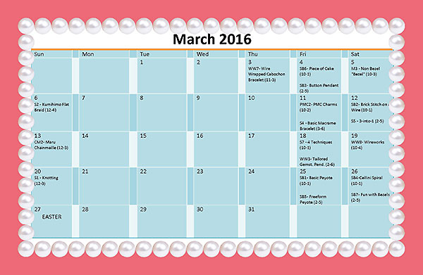 March 2016 Events at Star's Beads